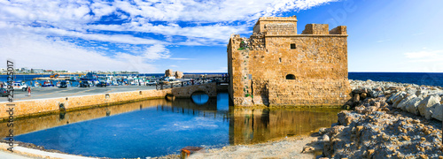 Cyprus landmarks - castle in Paphos, popular tourist attraction