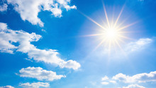 Hot Summer Or Heat Wave Background, Wonderful Blue Sky With Glowing Sun