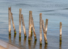 Old Wooden Pillars In The Sea ...