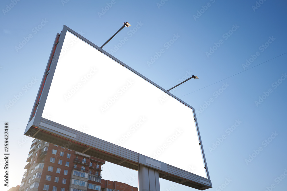 Fototapety, obrazy: 3x6 big billboard standing in the city against the sky during the daytime, with a white advertising space mockup