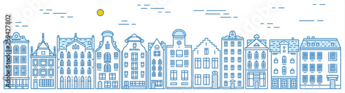 Poster Blanc Europe house and apartments. Set of cute architecture in Amsterdam. Neighborhood with classic street and cozy homes. Building and facades for Banner or poster. Doodle sketch.