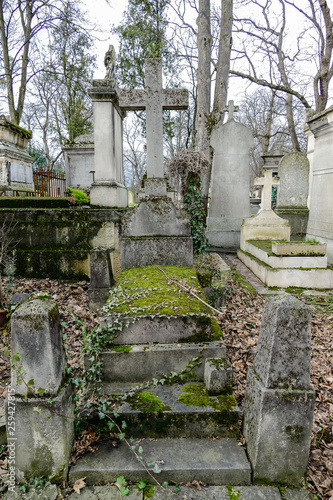 Fotografie, Tablou  Cimetiere du Pere Lachaise typical french cemetery, Photo image a Beautiful pano