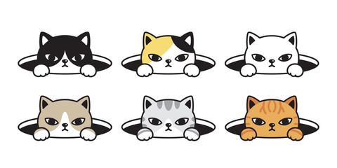 cat vector head calico kitten black white icon cartoon character hole doodle illustration