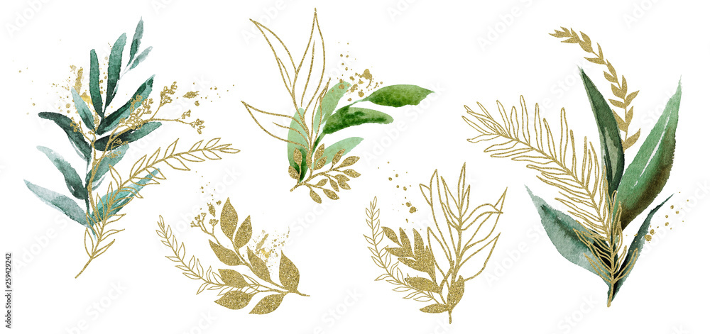 Fototapeta Watercolor floral illustration set - green & gold leaf branches, for wedding stationary, greetings, wallpapers, fashion, background. Eucalyptus, olive, green leaves, etc.
