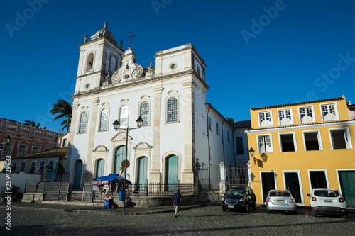 Fotografia  Bright scenic view of classic colonial Portuguese church architecture in the Lar