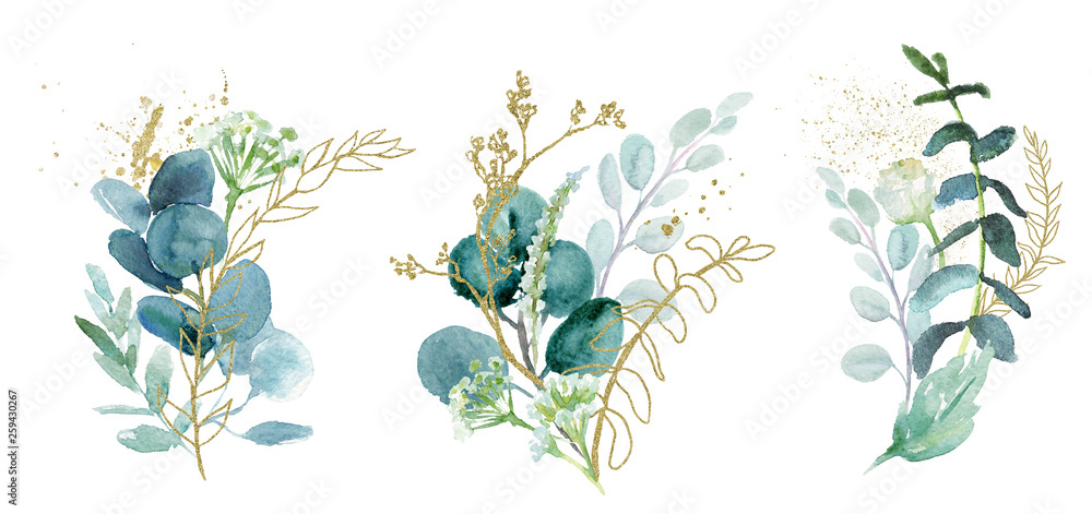 Fototapety, obrazy: Watercolor floral illustration set - green & gold leaf branches collection, for wedding stationary, greetings, wallpapers, fashion, background. Eucalyptus, olive, green leaves, etc.
