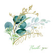 Watercolor floral illustration bouquet - green & gold leaf branches collection, for wedding stationary, greetings, wallpapers, fashion, background. Eucalyptus, olive, green leaves, etc.