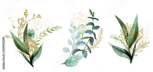 Foto  Watercolor floral illustration set - green & gold leaf branches collection, for wedding stationary, greetings, wallpapers, fashion, background
