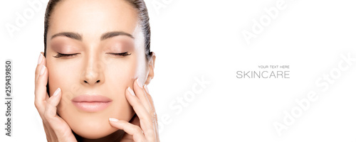 Photo sur Toile Spa Beauty and Skincare Concept. Beautiful natural young woman face with nude makeup on a flawless skin