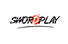 Swordplay Word Text Logo Icon With Red Circle Design