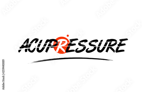 acupressure word text logo icon with red circle design Wallpaper Mural