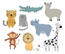 Cute Animals Set. Childish Vector Illustration Scandinavian Stylr Design Concept For Card,kids Clothes,baby Shower