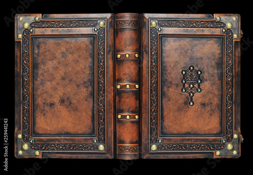 Fotografie, Obraz  Large medieval book cover with the tree of life, leather bound with brass corner