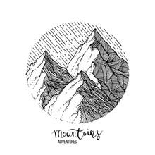 Hand Drawn Image Of A Mountain Peak, Engraving Style, Grunge Textured
