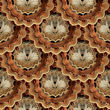 Baroque Gold 3d Vector Seamless Pattern. Ornamental Ornate Vintage Background. Beautiful Tiled Luxury Ornament With Round Mandalas. Abstract Elegance Swans, Flowers, Leaves. For Wallpapers, Fabric.