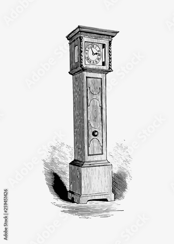 Grandfather clock in vintage style Canvas Print