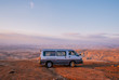 Bus in the desert of Jordan on sunset.