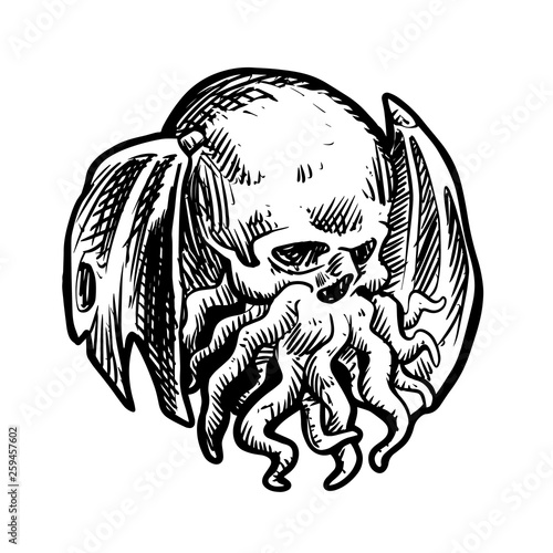 Ancient Mythical Monster Cthulhu - Vector illustration фототапет