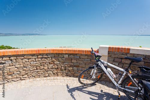 Photo  Balaton lake, Hungary. Touring bicycle