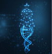 Blue abstract background with luminous DNA molecule, neon helix and human body.