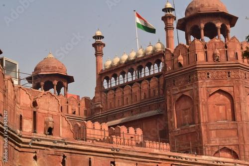 Stickers pour porte Delhi fuerte rojo de agra en india con bandera y cúpula