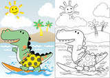 Fototapeta Dino - dinosaurs the surfer, coloring book or page, vector cartoon