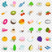 Vegetarian Food Icons Set. Isometric Style Of 36 Vegetarian Food Vector Icons For Web For Any Design