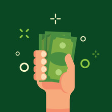 Hand Holding Green Money Flat Illustration. Bundle Of Money In Male Hand. Income, Finance, Profit, Salary Concept. Green Bank Notes Illustration Art.