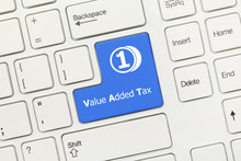 White Conceptual Keyboard - Value Added Tax (blue Key)