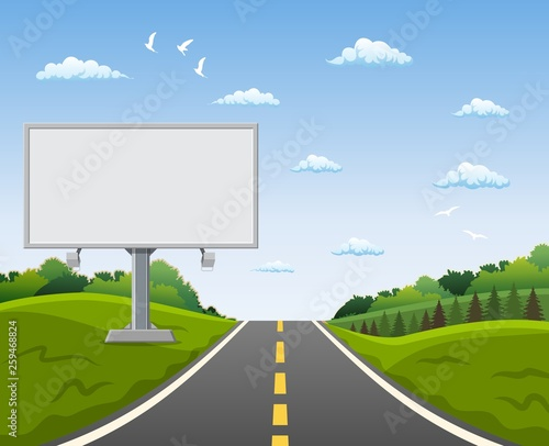 Blank billboard and roadside trees at the road. Vector illustration in flat style