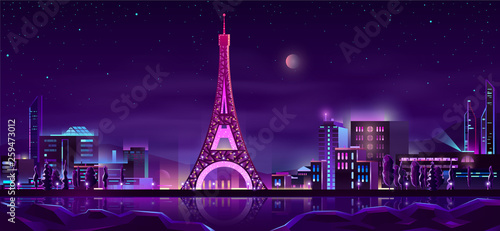 Paris quay night landscape cartoon vector in neon colors with illuminated Eiffel Tower reflecting in river water illustration. Europe famous touristic attraction. Honeymoon romantic travel in France