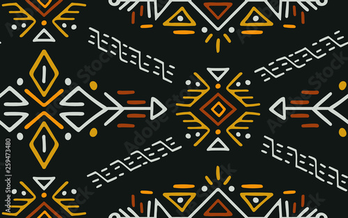 Foto auf Leinwand Boho-Stil African Ethnic Style Vector Seamless Pattern