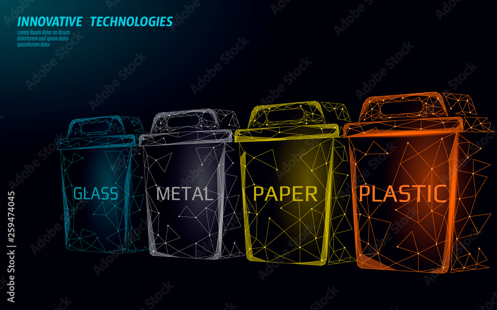 Fototapeta Low poly waste separation 3D concept. Garbage recycle plastic aluminium paper glass container bin. Polygonal ecological save planet campaign. Urban trash movement banner vector illustration