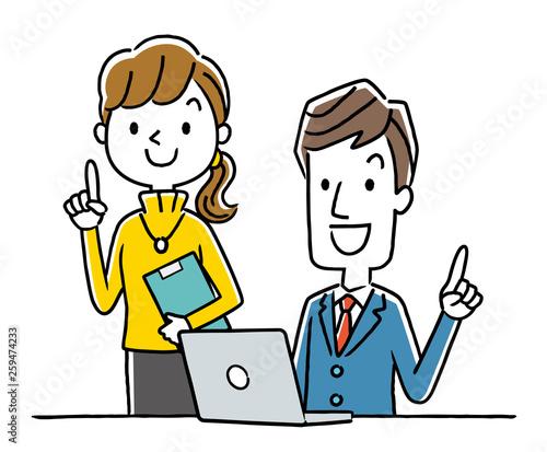 笑顔で仕事をする男性と女性 Fototapet
