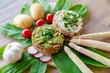 canvas print picture - gesunde Ernährung, Bärlauchpesto, Gemüse, Bärlauch