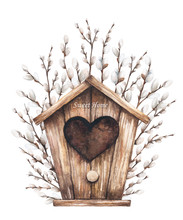 Watercolor Illustration Of Birdhouse And Willow