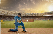Left Handed Batsman In Action In A Day & Night Cricket Match
