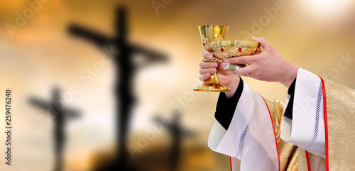 Carta da parati Holy communion on the background of three crosses on top of Golgotha