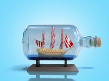 Ship In A Bottle 3d Render On Blue Image