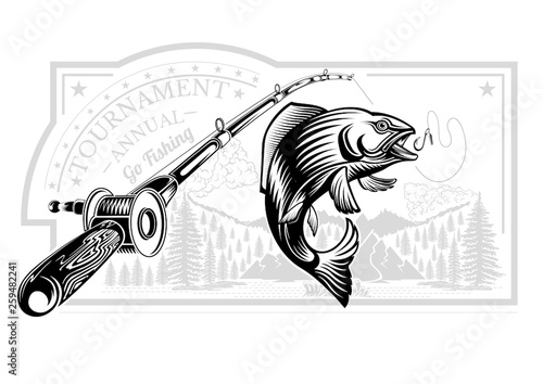 Salmon Fish Bend In Engrving Style With Fishing Rods On Nature Background Logo For Fishing Championship And Sport Club On White Buy This Stock Illustration And Explore Similar Illustrations At Adobe