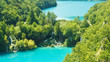 Aerial panoramic view of Plitvice Lakes, National Park in Croatia, sunny day
