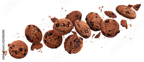 Foto Falling broken chocolate chip cookies isolated on white background with clipping