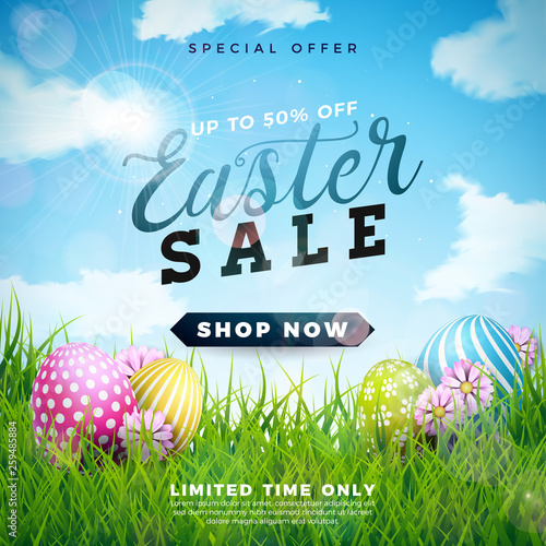 Easter Sale Illustration with Color Painted Egg and Spring Flower on Cloudy Sky Background. Vector Holiday Design Template for Coupon, Banner, Voucher or Promotional Poster.