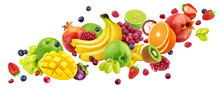 Falling Fruit Salad Isolated On White Background With Clipping Path, Flying Fruits And Berries Collection