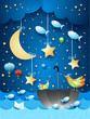 Surreal seascape with moon, umbrella, birds, balloons and flying fishes
