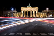 Brandenburg Gate With Light Trails At Night, Berlin, Germany, Europe