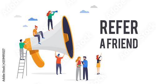 Obraz Refer a friend illustration. Big megaphone with a team work. Concept media for landing page, template, user interface UI, website - fototapety do salonu