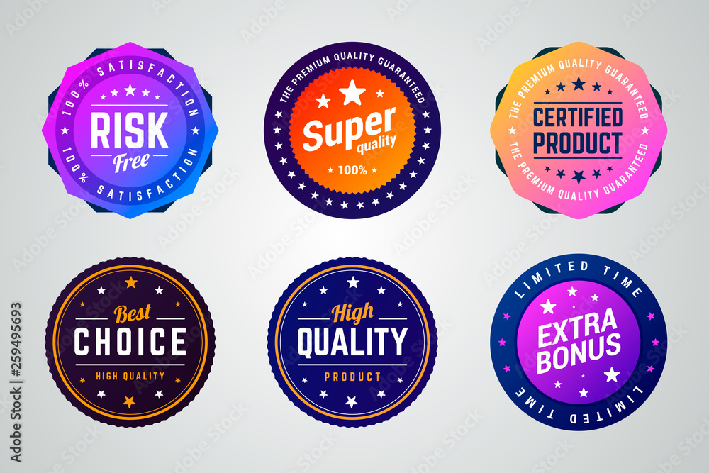 Fototapeta Set of colorful vector badges. Risk free, super quality, certified product, best choice, high quality and extra bonus badges.