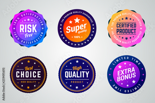 Obraz Set of colorful vector badges. Risk free, super quality, certified product, best choice, high quality and extra bonus badges.  - fototapety do salonu