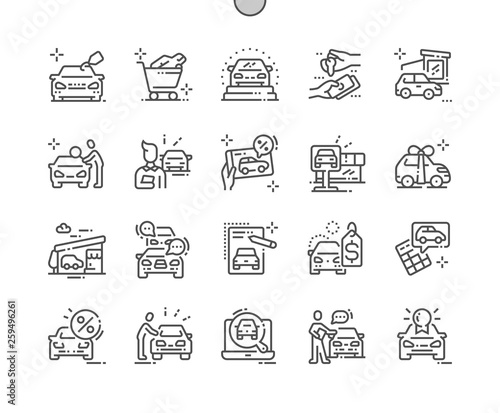 Leinwand Poster Car shop Well-crafted Pixel Perfect Vector Thin Line Icons 30 2x Grid for Web Graphics and Apps